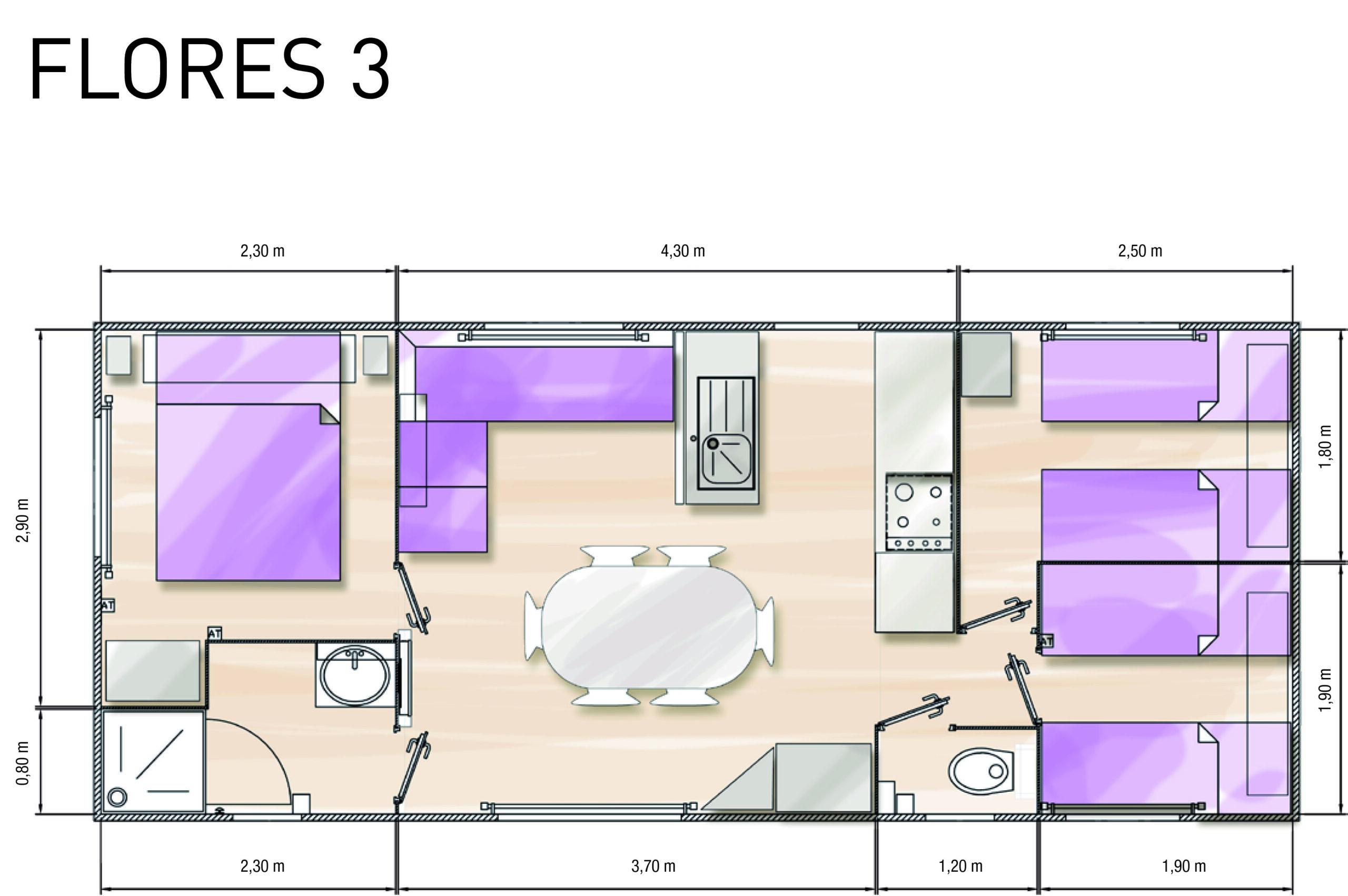 Plan-stacaravan-geweldig-comfort-3-slaapkamers-Le-Tropicana