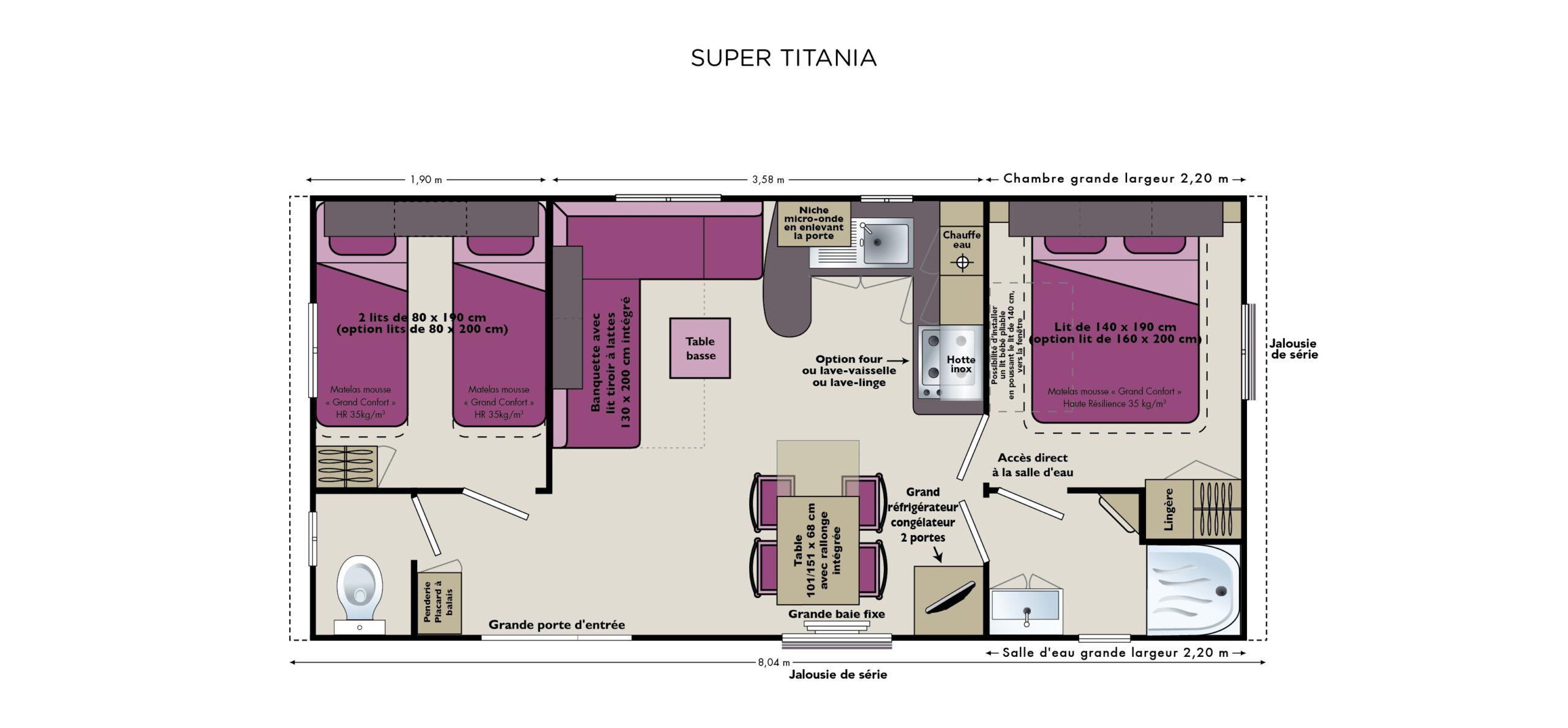 Plan-stacaravan-groot-comfort-2-slaapkamers-terras-Le-Tropicana